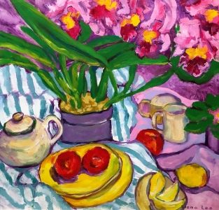 Flowers, Fruit and Striped Cloth by Diana Lee