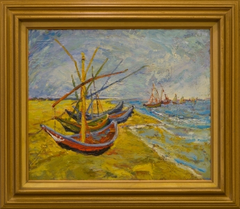 Fishing Boats on Beach at Saintes_Maries (after Van Gogh)