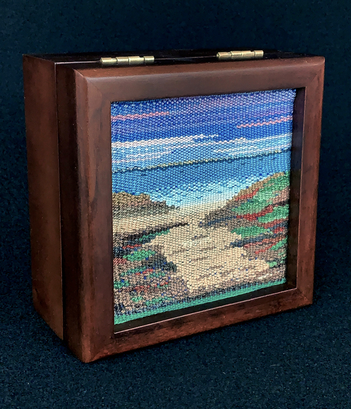 Christine Anderson | Mahogany box with tapestry insert | $150