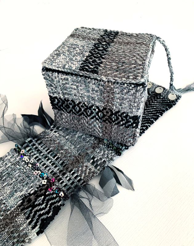 Christine Anderson | grey & black twill box with table scarf | $200