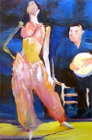 Doris Epstein painting: Dancer with Drummer