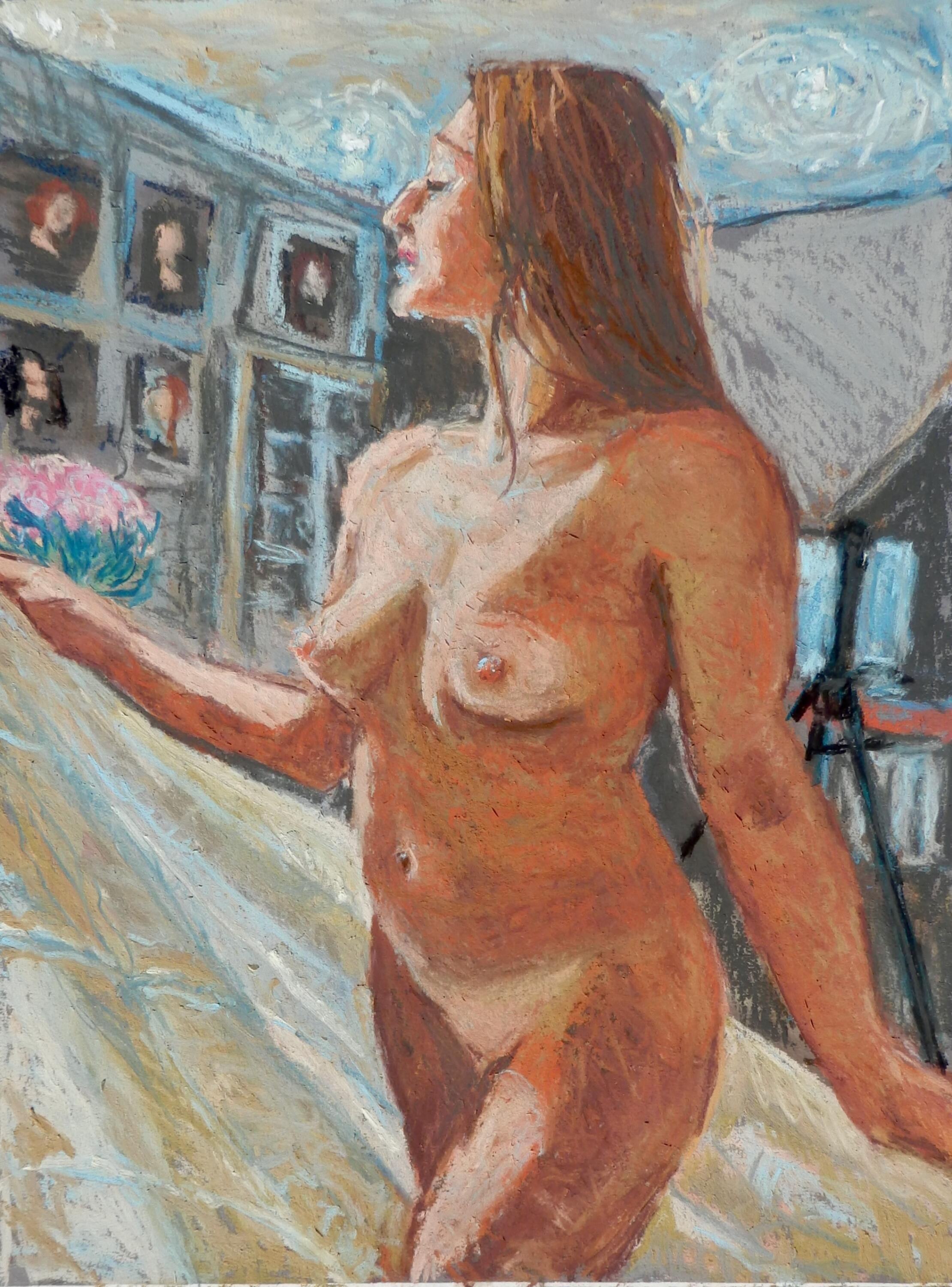 Standing Nude with a Cloth | pastel